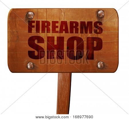 firearms shop, 3D rendering, text on wooden sign