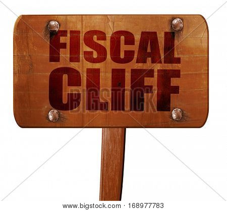 fiscal cliff, 3D rendering, text on wooden sign