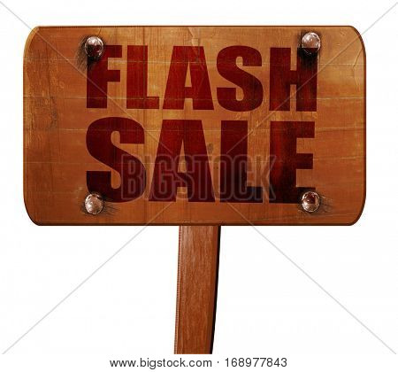 flash sale, 3D rendering, text on wooden sign