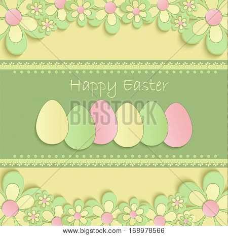 Happy easter flowers eeg spring 3D yellow green vector