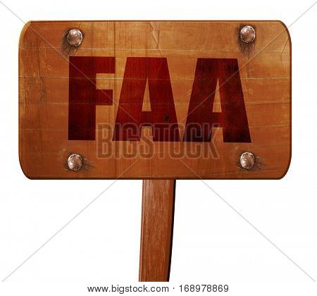 faa, 3D rendering, text on wooden sign