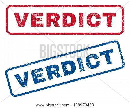 Verdict text rubber seal stamp watermarks. Vector style is blue and red ink caption inside rounded rectangular shape. Grunge design and dirty texture. Blue and red stickers.