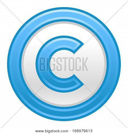 Use it in all your designs. The copyright symbol, or copyright sign, a circled capital letter C. Blue rounded matte button web internet icon. Vector illustration a graphic element for design.