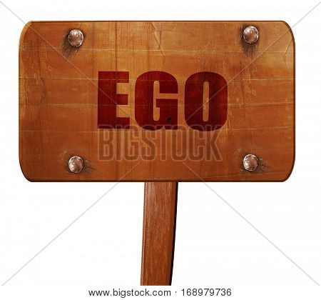 ego, 3D rendering, text on wooden sign