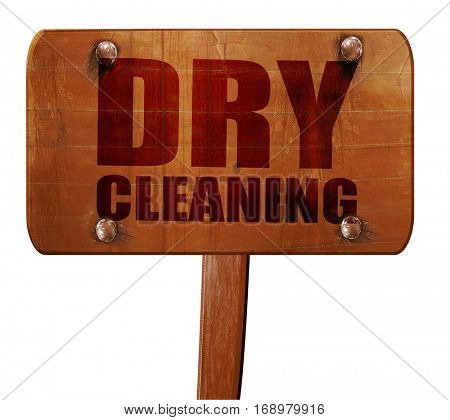 dry cleaning, 3D rendering, text on wooden sign