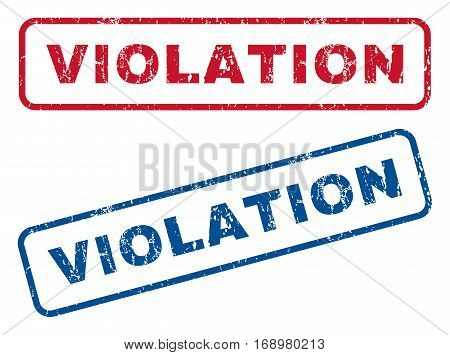 Violation text rubber seal stamp watermarks. Vector style is blue and red ink tag inside rounded rectangular shape. Grunge design and unclean texture. Blue and red signs.
