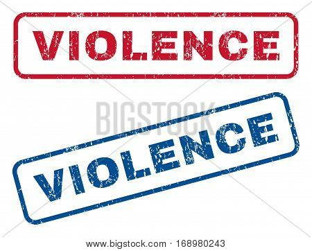 Violence text rubber seal stamp watermarks. Vector style is blue and red ink caption inside rounded rectangular shape. Grunge design and unclean texture. Blue and red stickers.