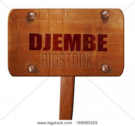 djembe, 3D rendering, text on wooden sign