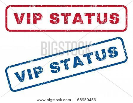 Vip Status text rubber seal stamp watermarks. Vector style is blue and red ink tag inside rounded rectangular shape. Grunge design and dirty texture. Blue and red stickers.