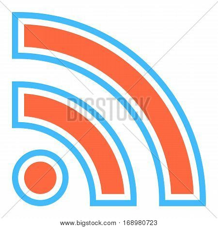 Use it in all your designs. Flat Wi-Fi signal or RSS icon Really Simple Syndication sign subscribe button. Quick and easy recolorable shape. Vector illustration a graphic element
