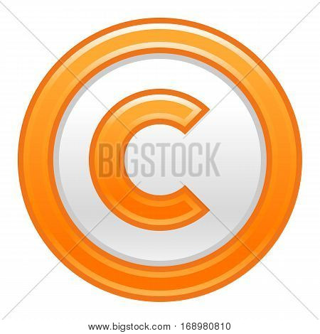 Use it in all your designs. The copyright symbol, or copyright sign, a circled capital letter C. Orange rounded matte button web internet icon. Vector illustration a graphic element for design.