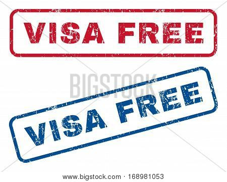 Visa Free text rubber seal stamp watermarks. Vector style is blue and red ink caption inside rounded rectangular banner. Grunge design and scratched texture. Blue and red emblems.