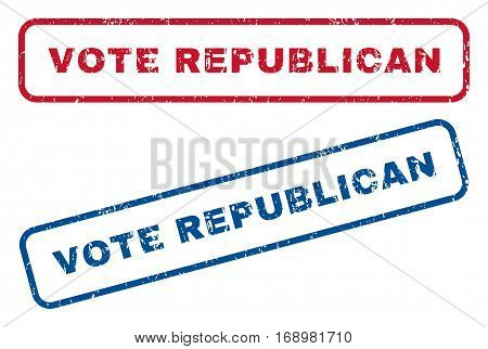 Vote Republican text rubber seal stamp watermarks. Vector style is blue and red ink caption inside rounded rectangular banner. Grunge design and scratched texture. Blue and red stickers.
