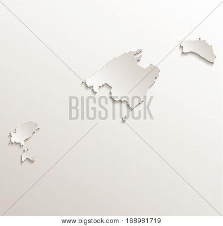 Balearic Islands, Mallorca, Menorca, Ibiza map card paper 3D natural raster