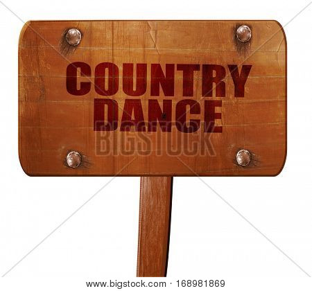 country dance, 3D rendering, text on wooden sign