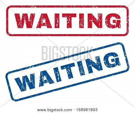 Waiting text rubber seal stamp watermarks. Vector style is blue and red ink caption inside rounded rectangular shape. Grunge design and scratched texture. Blue and red signs.