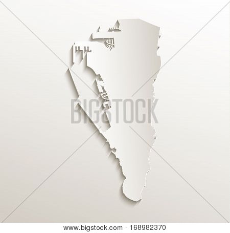 Gibraltar map card paper 3D natural raster
