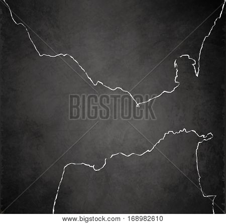 Strait of Gibraltar map blackboard chalkboard raster