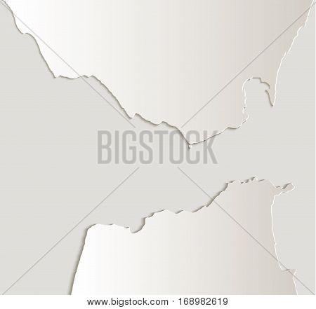 Strait of Gibraltar map card paper 3D natural raster