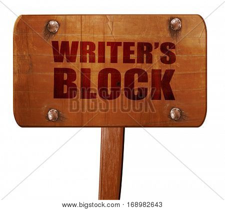writer's block, 3D rendering, text on wooden sign