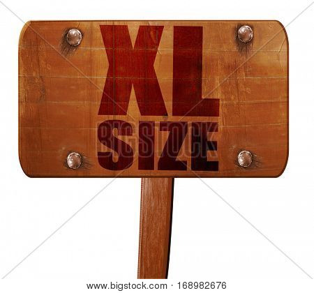 xl size, 3D rendering, text on wooden sign