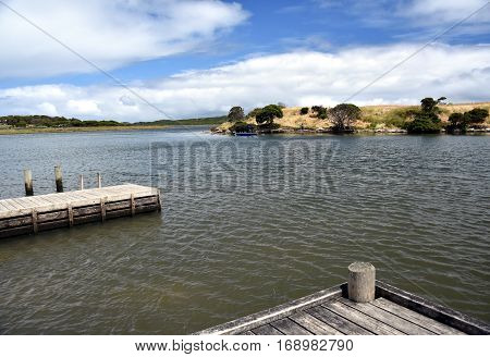 Where Glenelg River and Oxbow Lake meeting (Nelson Victoria Australia). Nelson is a small fishing town a few kilometres from the South Australian border.