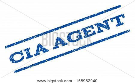 CIA Agent watermark stamp. Text tag between parallel lines with grunge design style. Rotated rubber seal stamp with dust texture. Vector blue ink imprint on a white background.