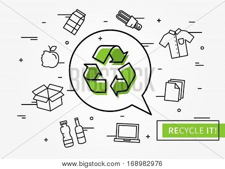 Recycle it vector illustration. Recycle symbol with recyclable things creative illustration.