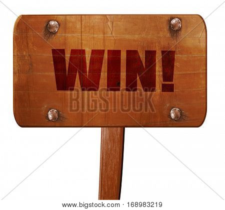 win!, 3D rendering, text on wooden sign