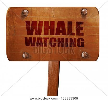 whale watching, 3D rendering, text on wooden sign
