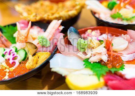 Seafood sashimi bowl