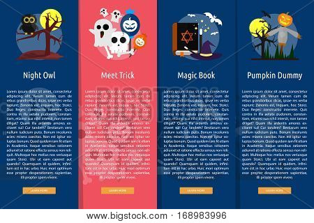 Halloween Vertical Banner Concept | Set of great vertical banner flat design illustration concepts for halloween, holiday, horror, night and much more.