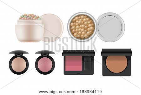 Cosmetic set for nude makeup. 3d realistic of compact powder, rouge in black plastic case, bronzer balls, powder meteorites or pearls. Vector illustration isolated on white background.