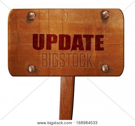 update sign background, 3D rendering, text on wooden sign
