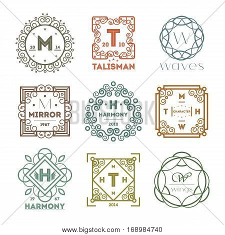 Geometric monogram vintage abstract logo vector illustration. Talisman, mirror, harmony, waves brand. Luxury insignia logo vector. Monogram emblem insignia. Vector monogram collection. Isolated monogram symbol. Luxury logo for abstract brand.