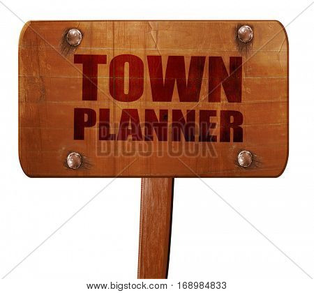 townplanner, 3D rendering, text on wooden sign
