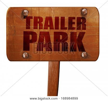 trailer park, 3D rendering, text on wooden sign
