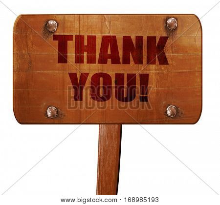 thank you, 3D rendering, text on wooden sign