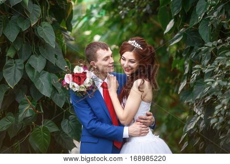 Wedding. Young happy bride and groom together in garden. Marriage concept