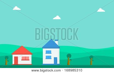 Landscape of house vector flat collection stock