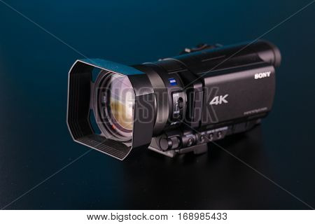BERLIN, GERMANY - June 06, 2016: Sony FDR AX100 4k Handycam Camcorder