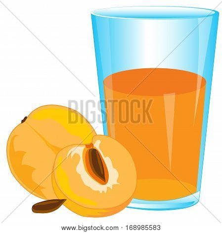 Glass of juice and peaches on white background is insulated