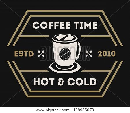 Coffee shop logo vector illustration. Coffee icon symbol. Hot and cold coffee sign. Coffee shop logo emblem vector. Template of coffee shop logo for restaurant or bar menu. Vintage coffee logo or coffee stamps. Coffee