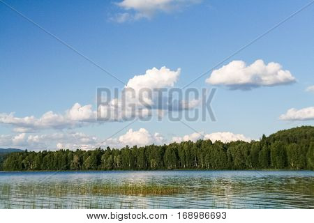 Shallow water at the lake. Siberia, Russia