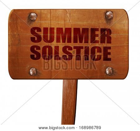 summer solstice, 3D rendering, text on wooden sign