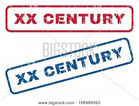 Xx Century text rubber seal stamp watermarks. Vector style is blue and red ink caption inside rounded rectangular shape. Grunge design and dirty texture. Blue and red emblems.
