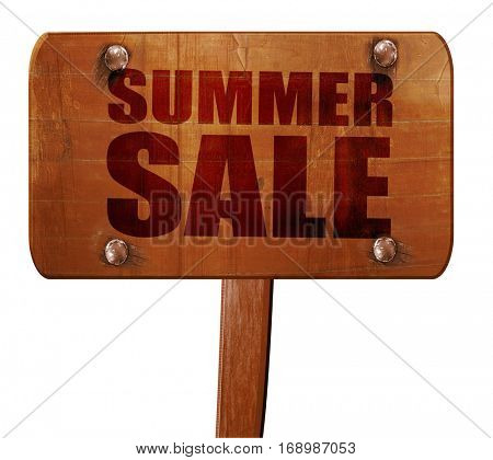 summer sale, 3D rendering, text on wooden sign