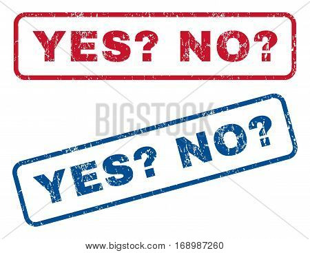 Yes Question No Question text rubber seal stamp watermarks. Vector style is blue and red ink tag inside rounded rectangular shape. Grunge design and dust texture. Blue and red stickers.