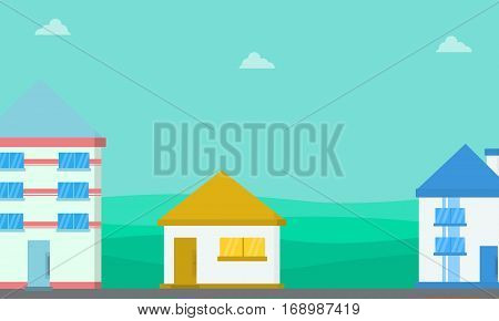 Lined house landscape vector flat collection stock