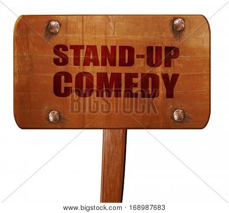 stand-up comedy, 3D rendering, text on wooden sign